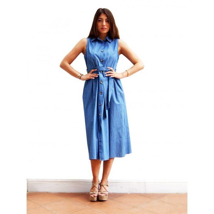 Φόρεμα μίντι ριγέ τζιν - ΤΖΙΝ
