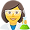 An illustration of a female scientist.
