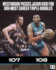 Russell Westbrook 超越 Jason Kidd 排在 NBA 歷史三雙榜第三位!