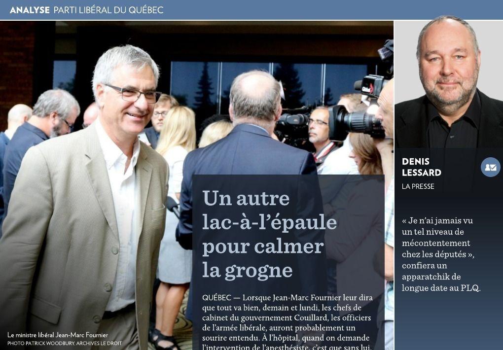 Un lac-à-l'épaule pour calmer la grogne au PLQ - La Presse+