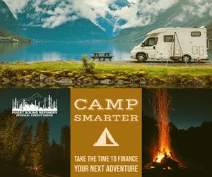 Camper images lake and bonfire