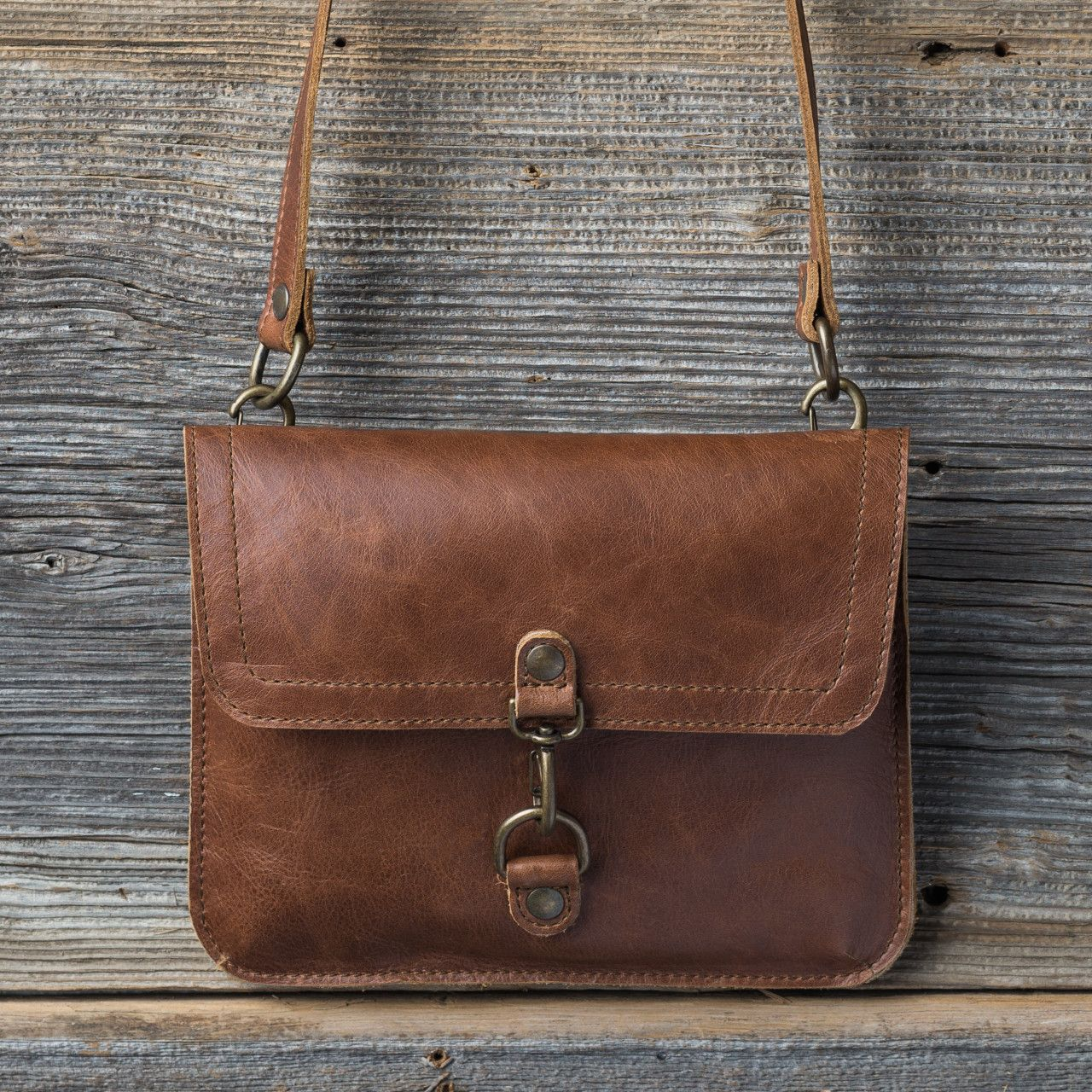 Leather Overnight Duffel Bag in caramel brown