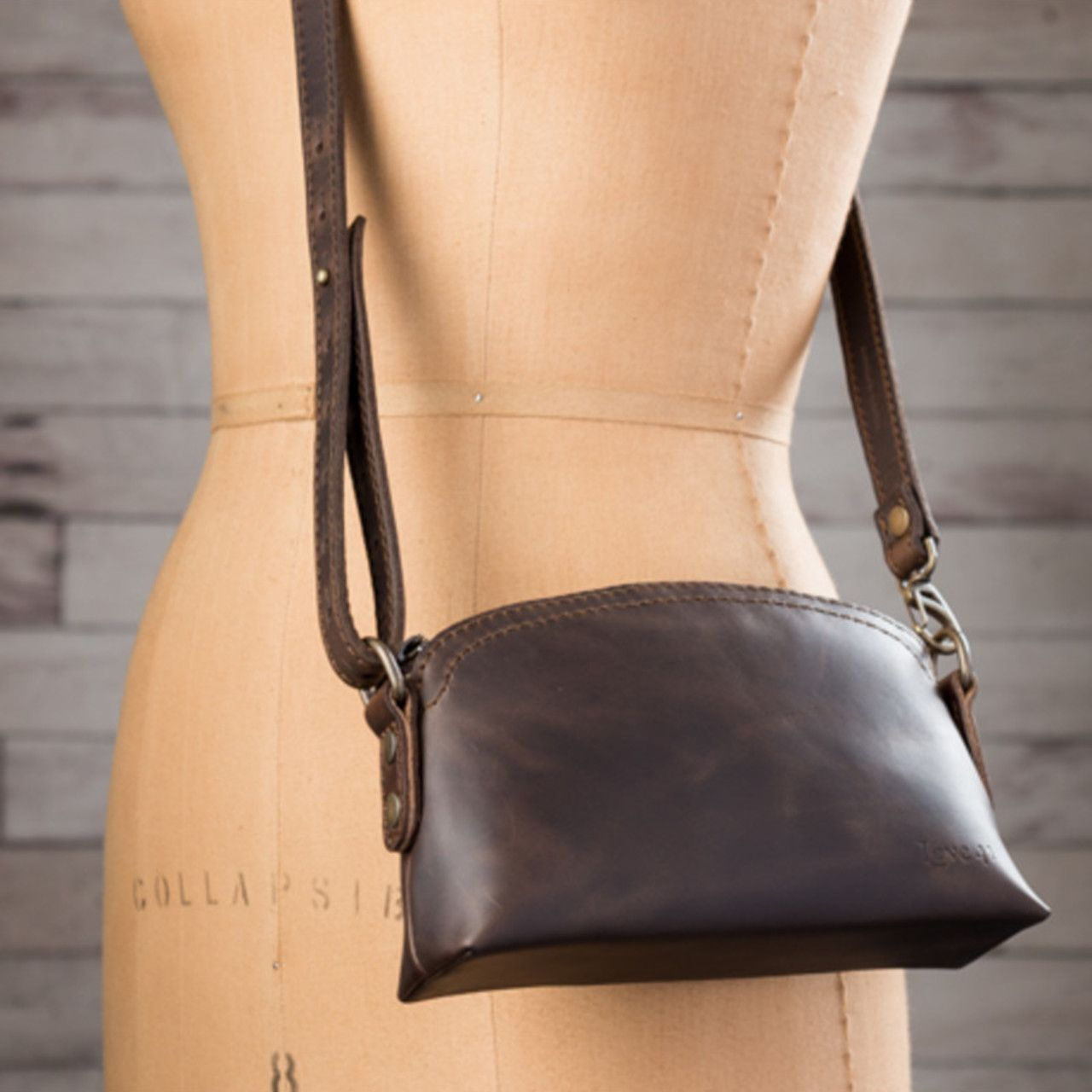 Leather Cosmetic Bag in dark coffee brown