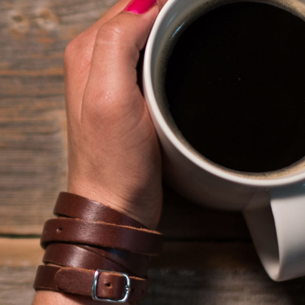 Leather Infinity Wrap Bracelet in chestnut