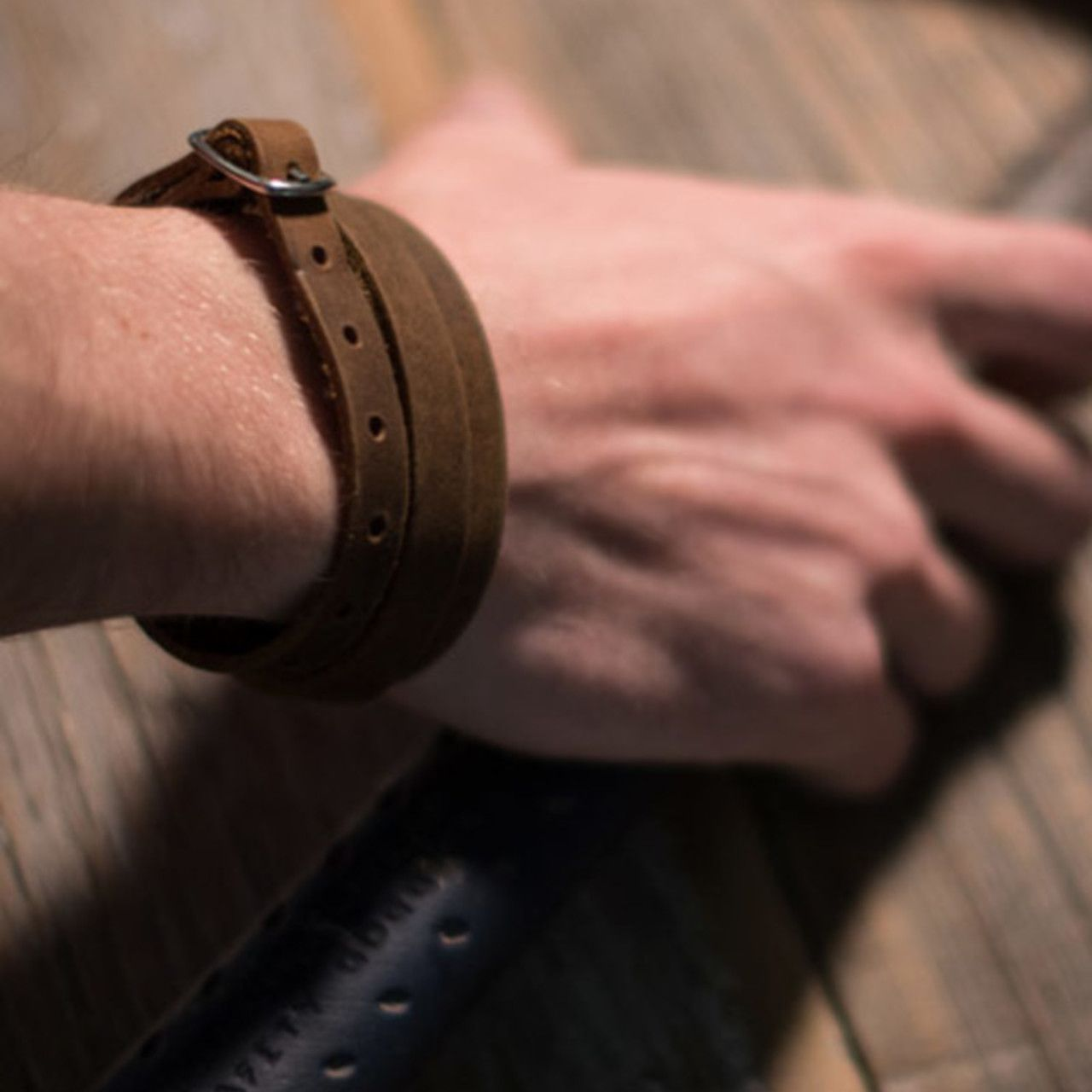 Leather Infinity Wrap Bracelet in tobacco brown