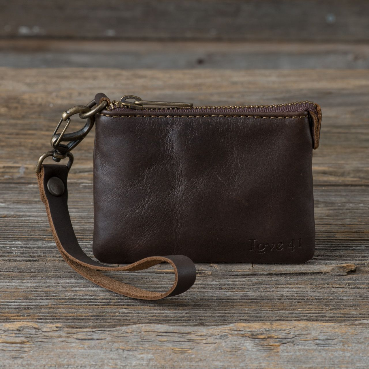 Wristlet ID wallet in dark coffee brown