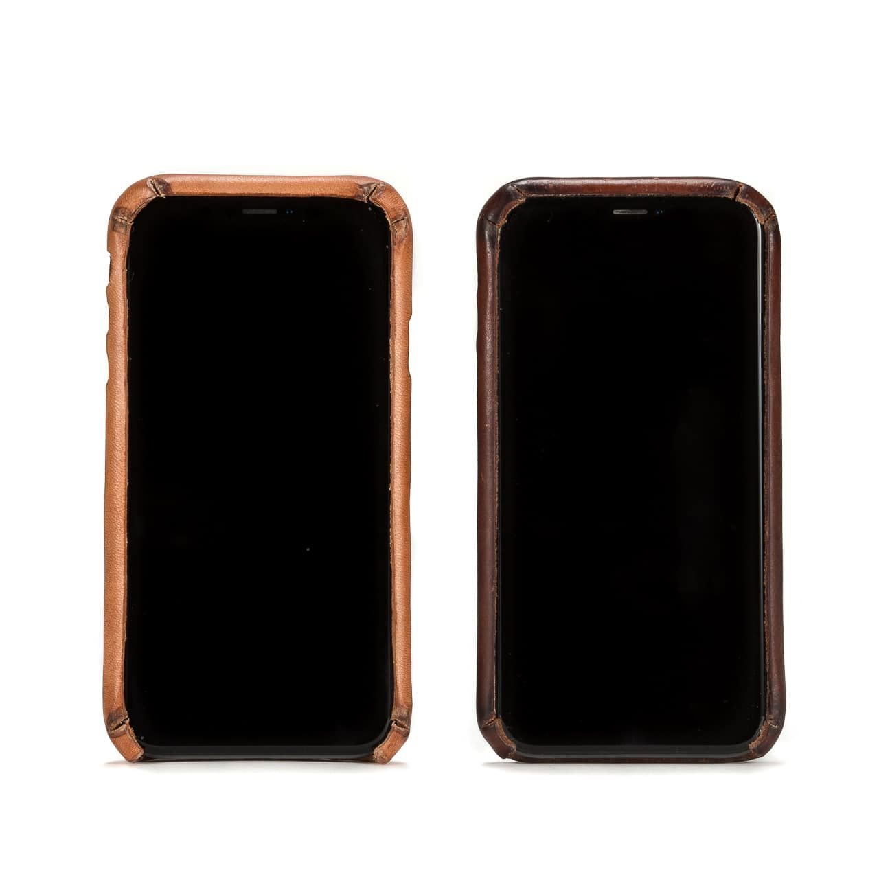 New and Patina'd Boot Leather iPhone Case from the Front Side by Side