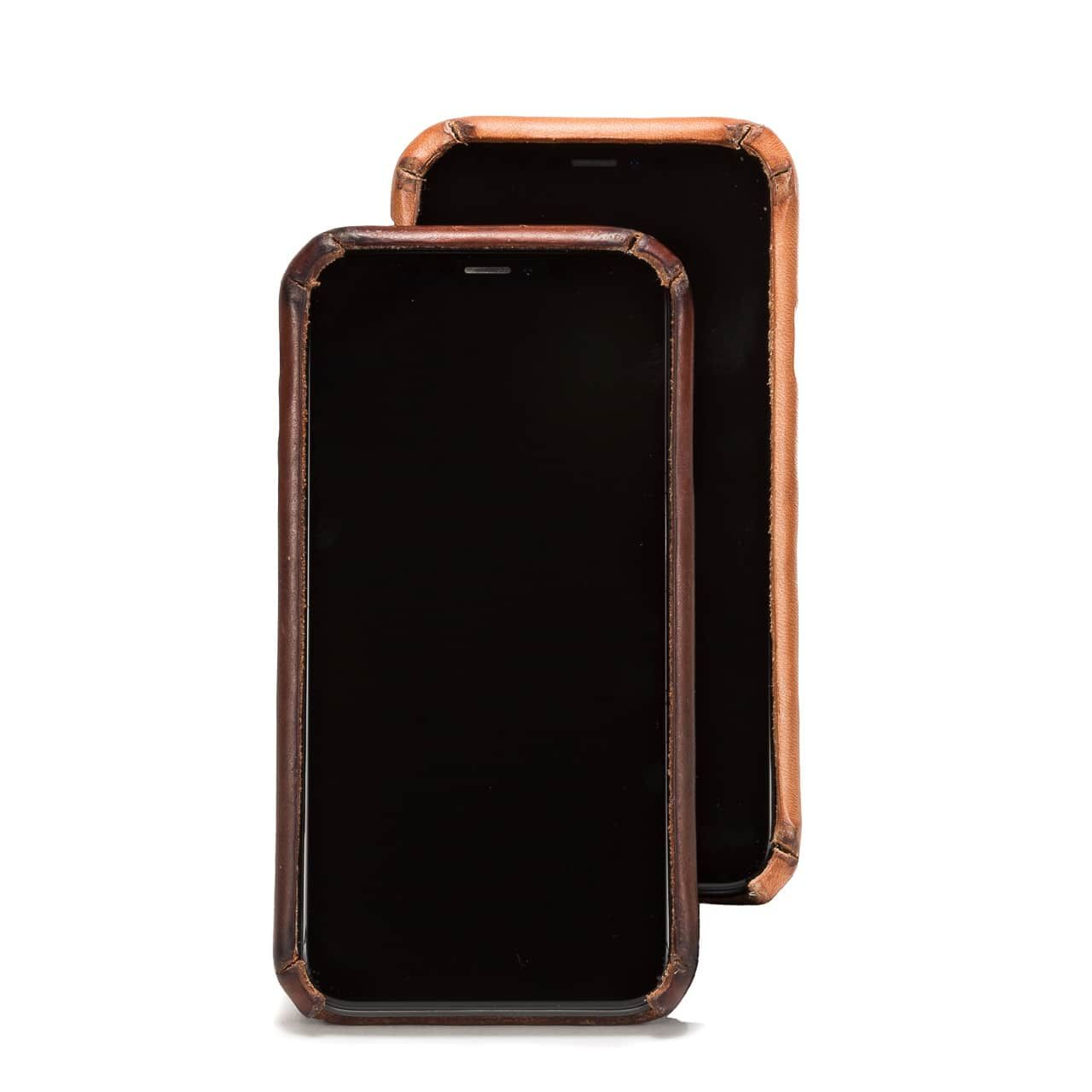 New and Patina'd Boot Leather iPhone Case Front Stair Stacked
