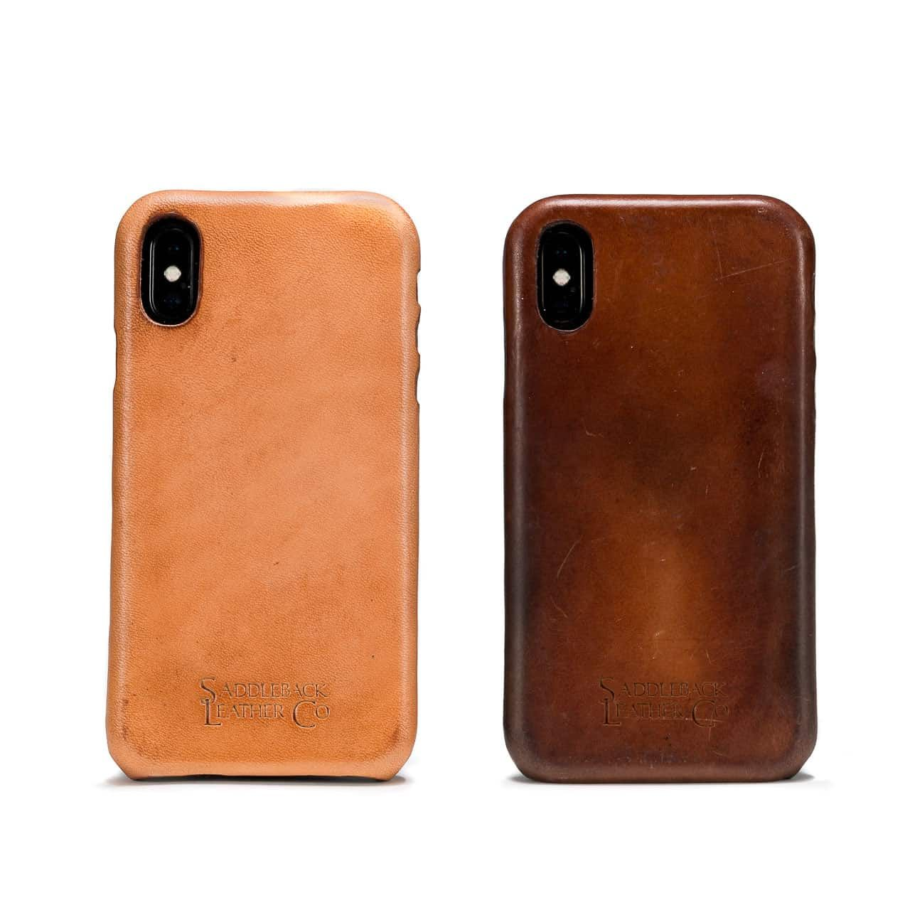 New and Patina'd Boot Leather iPhone Case from the Back Side by Side