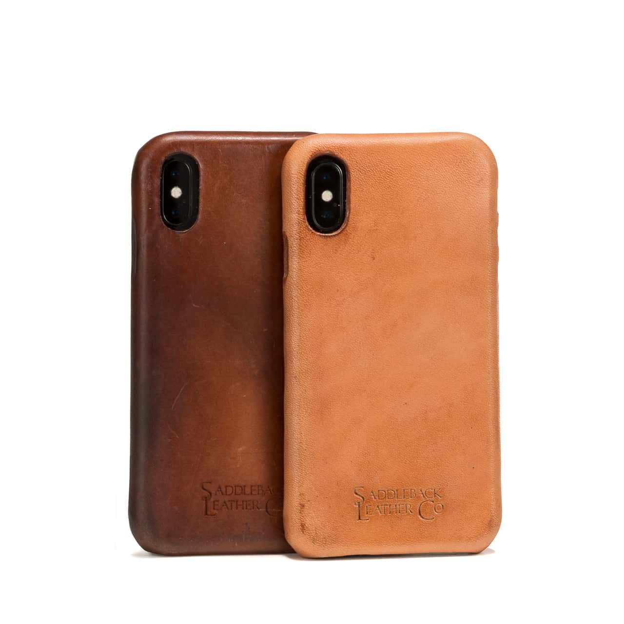 New and Patina'd Boot Leather iPhone Case from the Back Stair Stacked