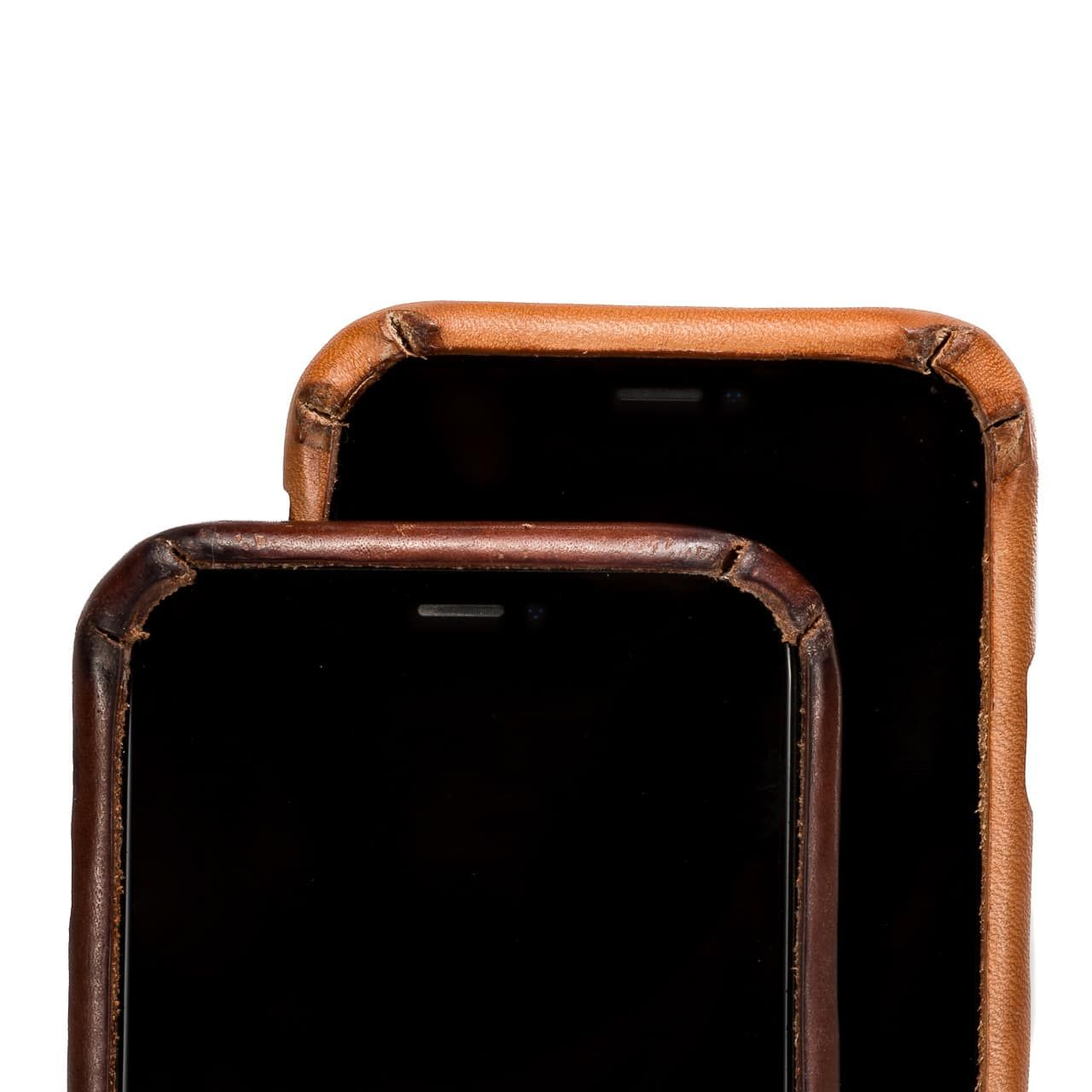 New and Patina'd Boot Leather iPhone Case Front zoomed on camera