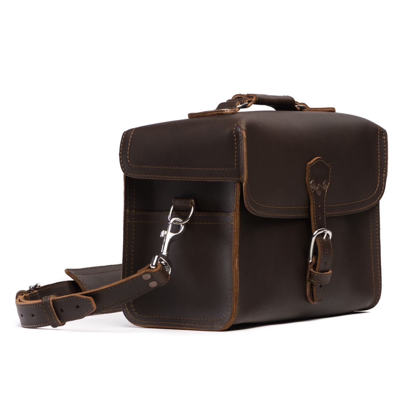 leather gadget bag large in dark coffee brown leather