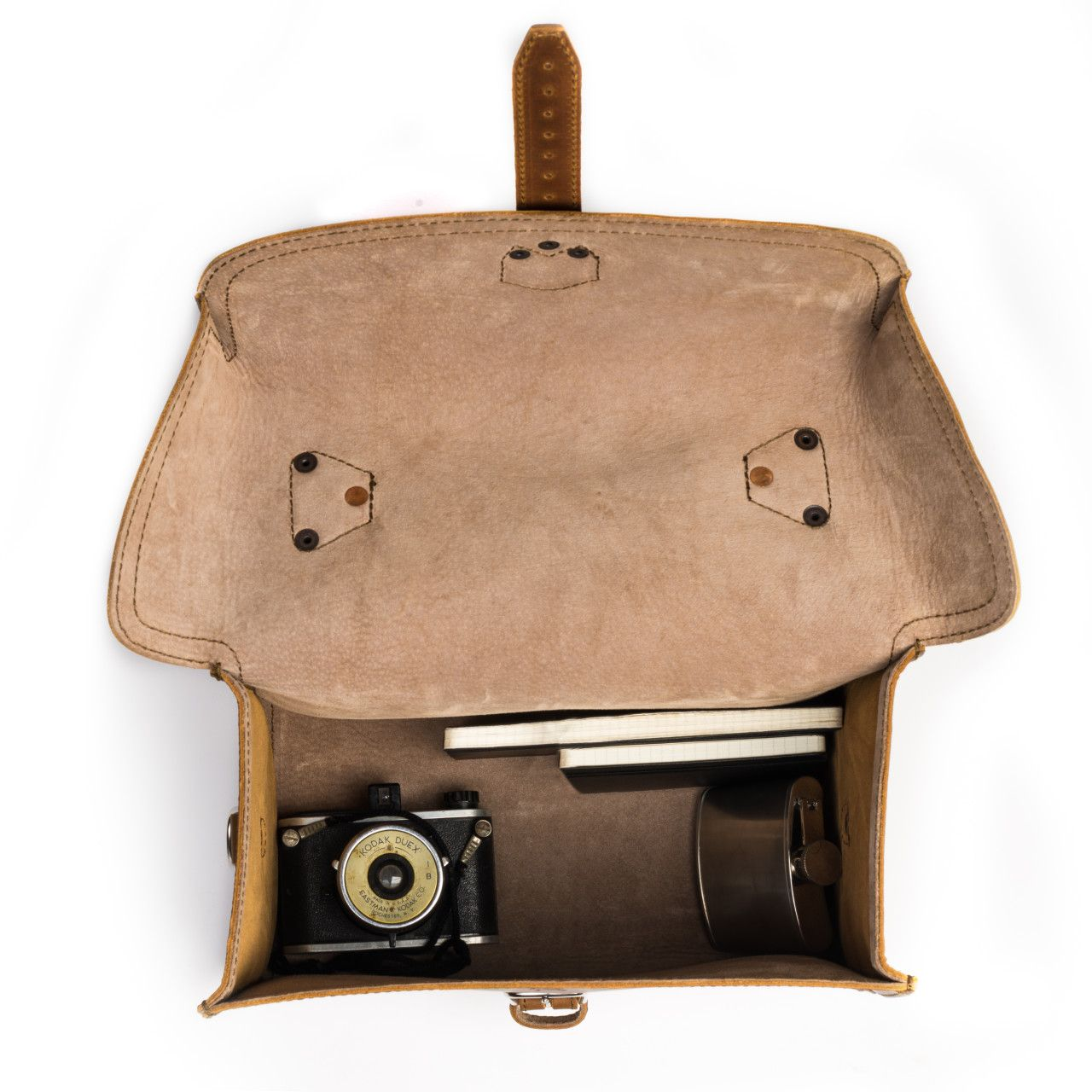 For your most valuable souvenirs suitcase will be leather gadget bag large in tobacco leather