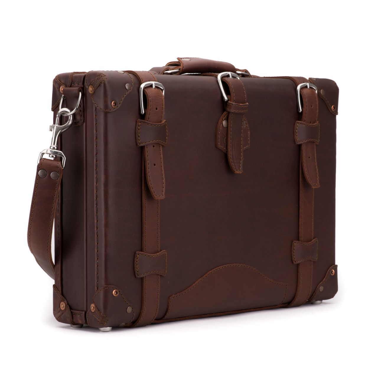 hard sided leather briefcase medium in chestnut leather