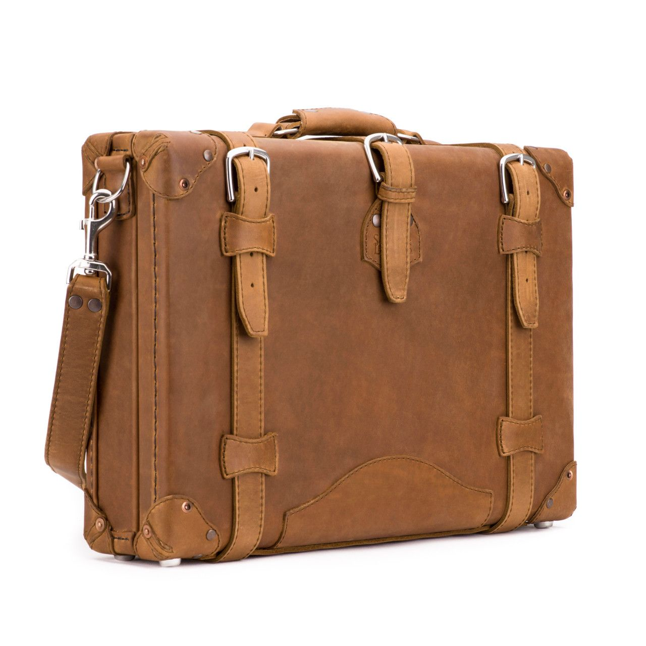 hard sided leather briefcase medium in tobacco leather