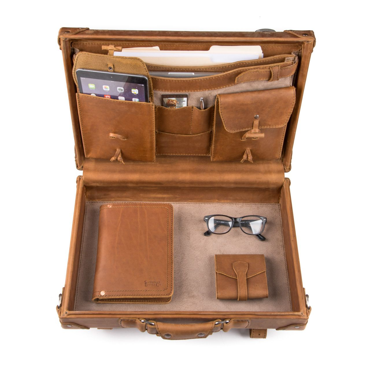 hard sided leather briefcase medium in tobacco leather is great for office stuff
