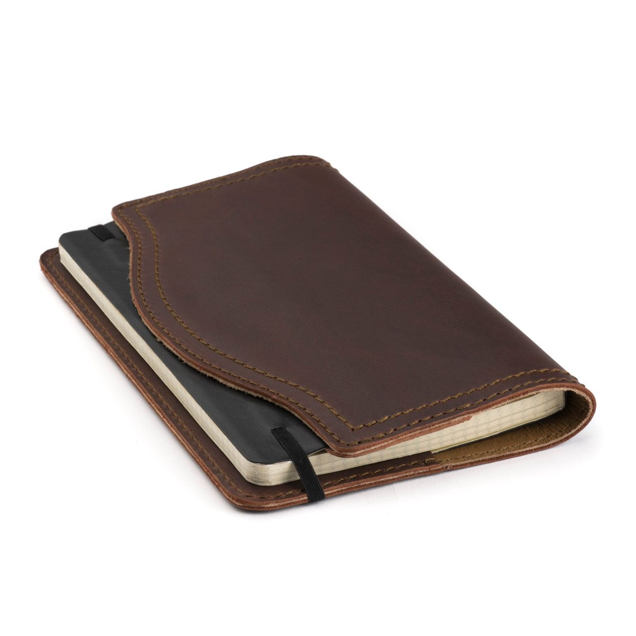 leather notebook cover medium in chestnut leather