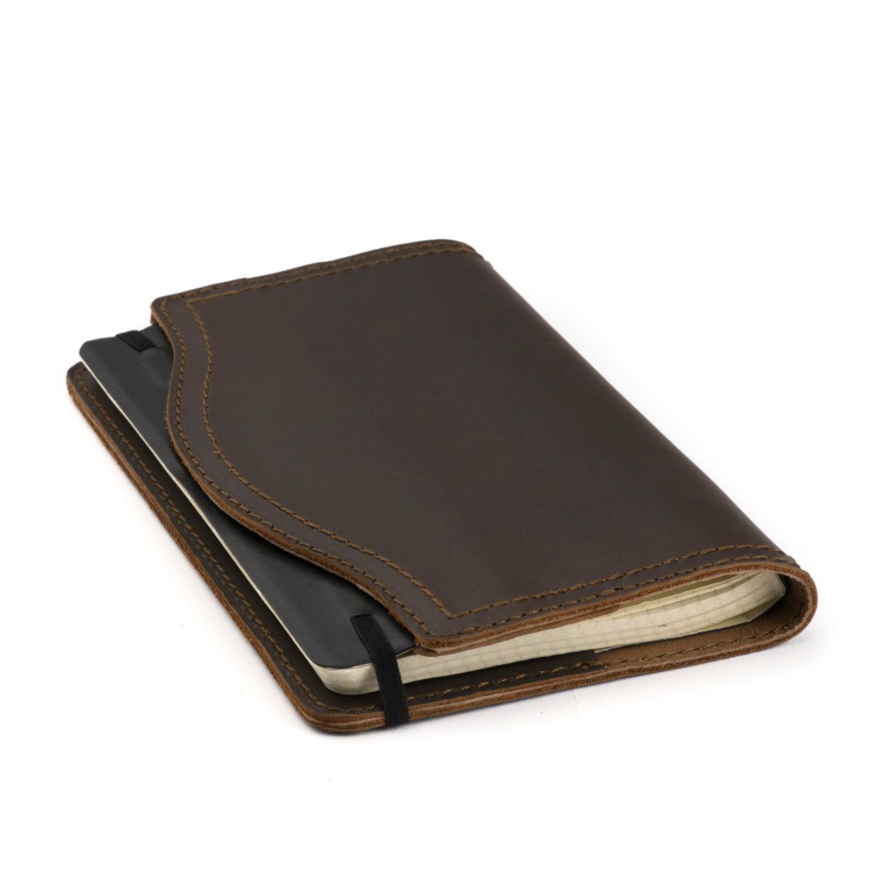 leather notebook cover medium in dark coffee brown leather