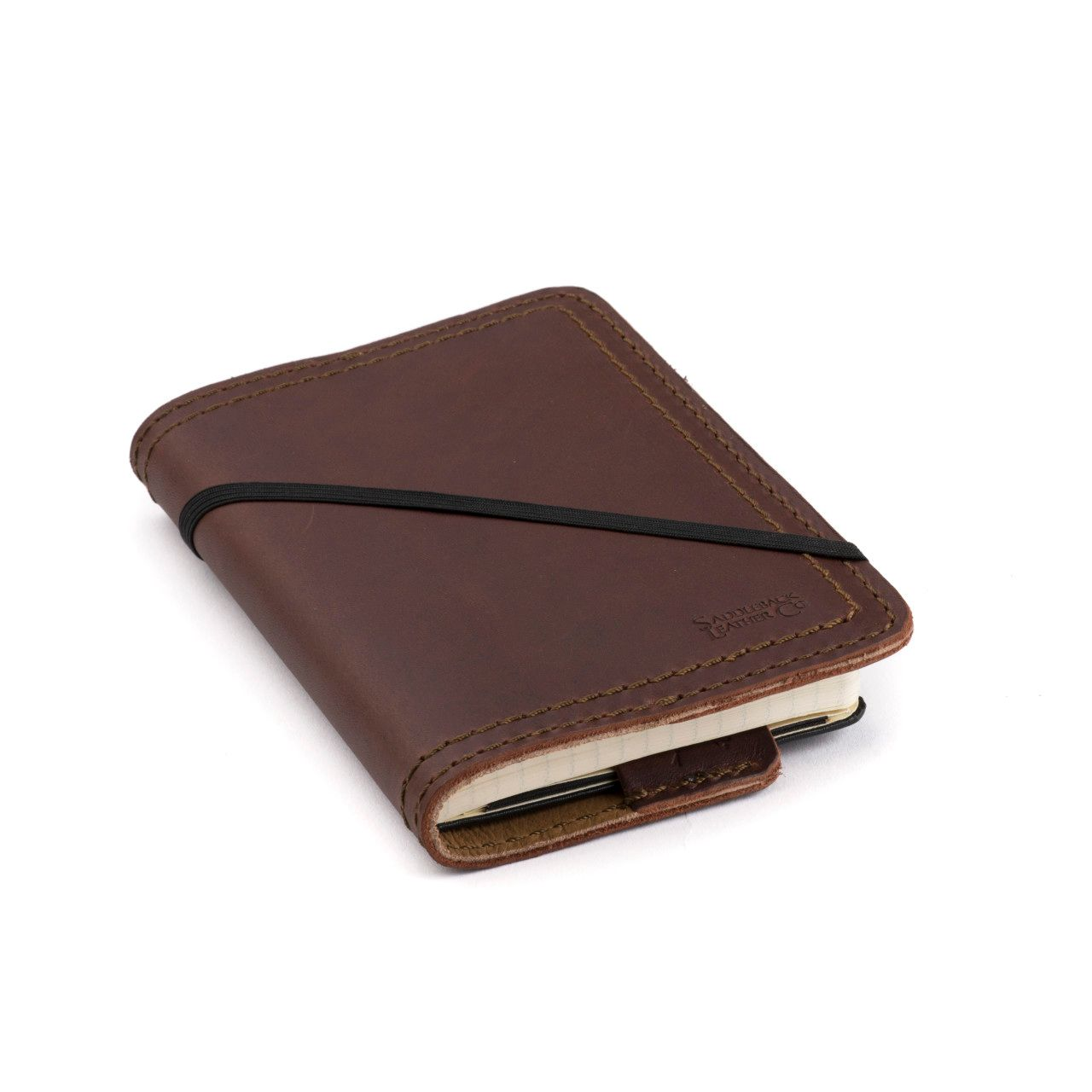 leather notebook cover small in chestnut leather