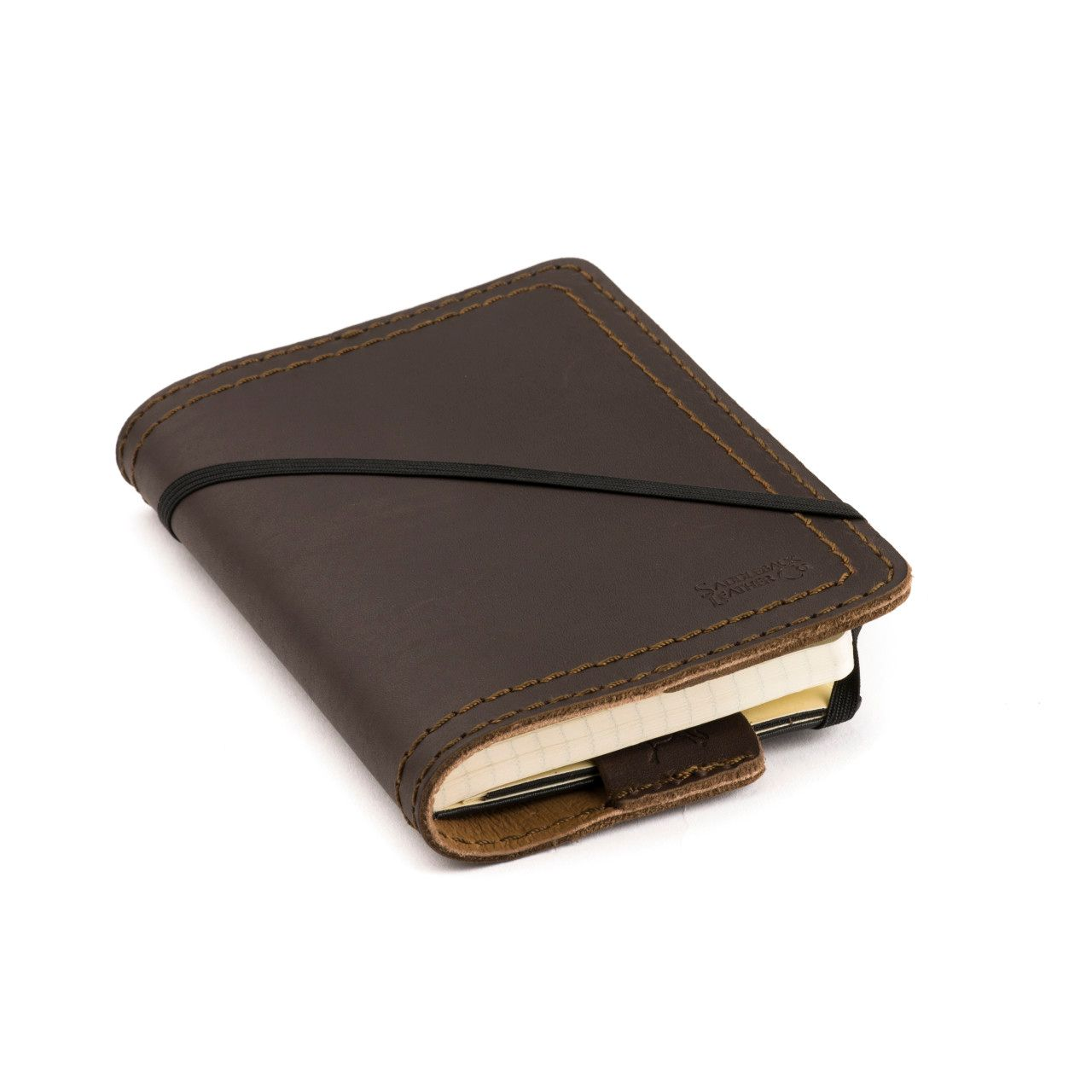 leather notebook cover small in dark coffee brown leather
