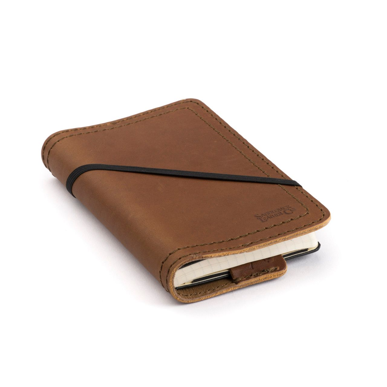 leather notebook cover small in tobacco leather