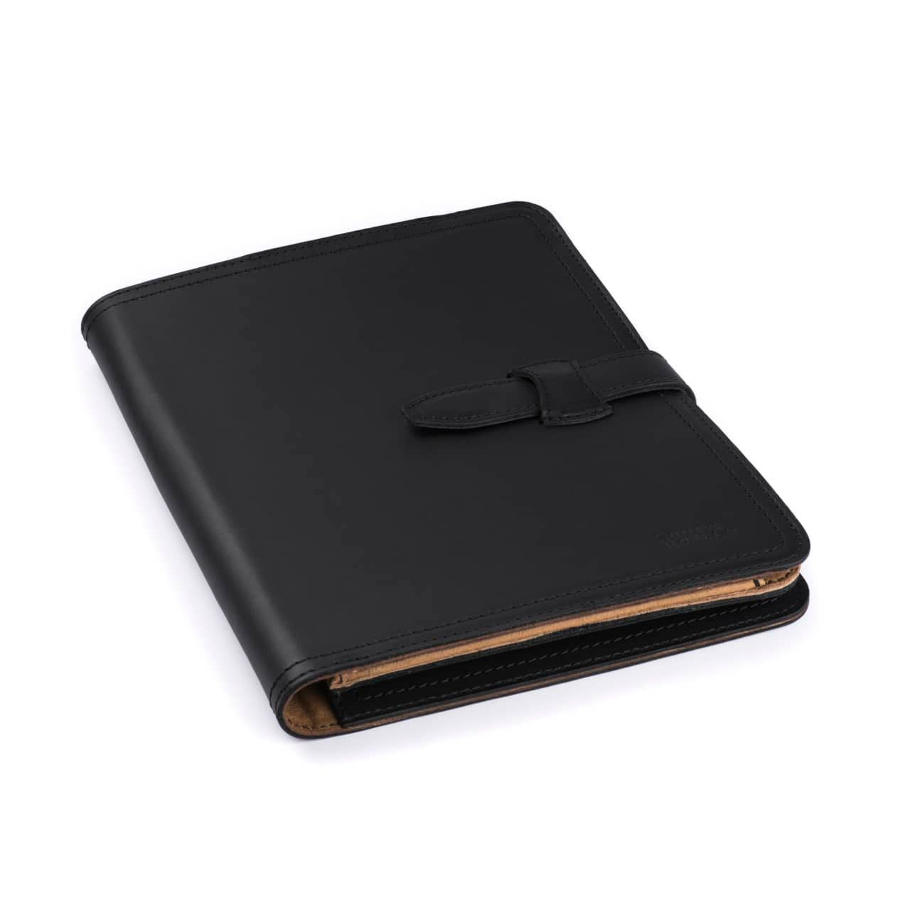 Leather Tablet Notepad Holder Closed in the Color Black