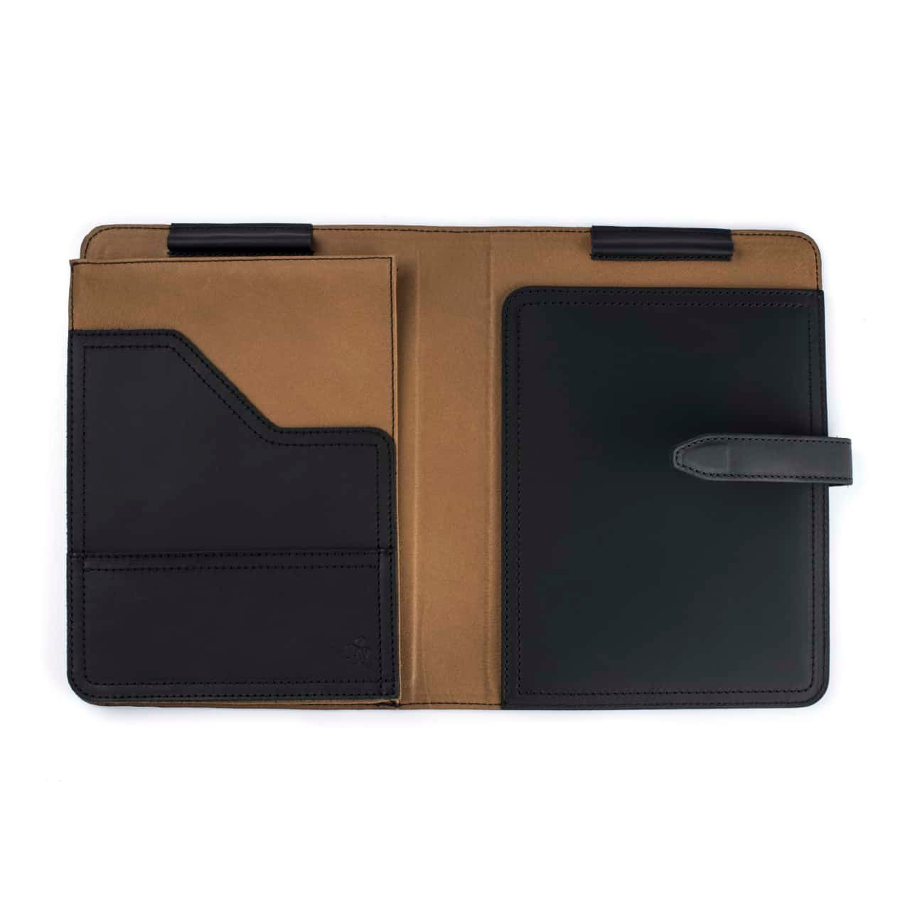 Leather Tablet Notepad Holder Open and Empty in the Color Black