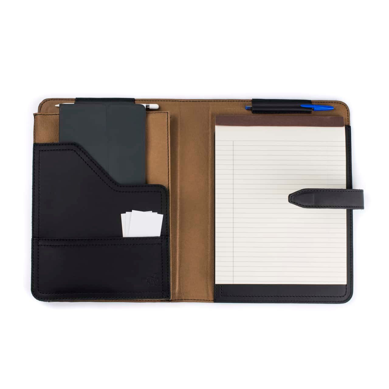 Leather Tablet Notepad Holder Open with Notepad and Pens in the Color Black
