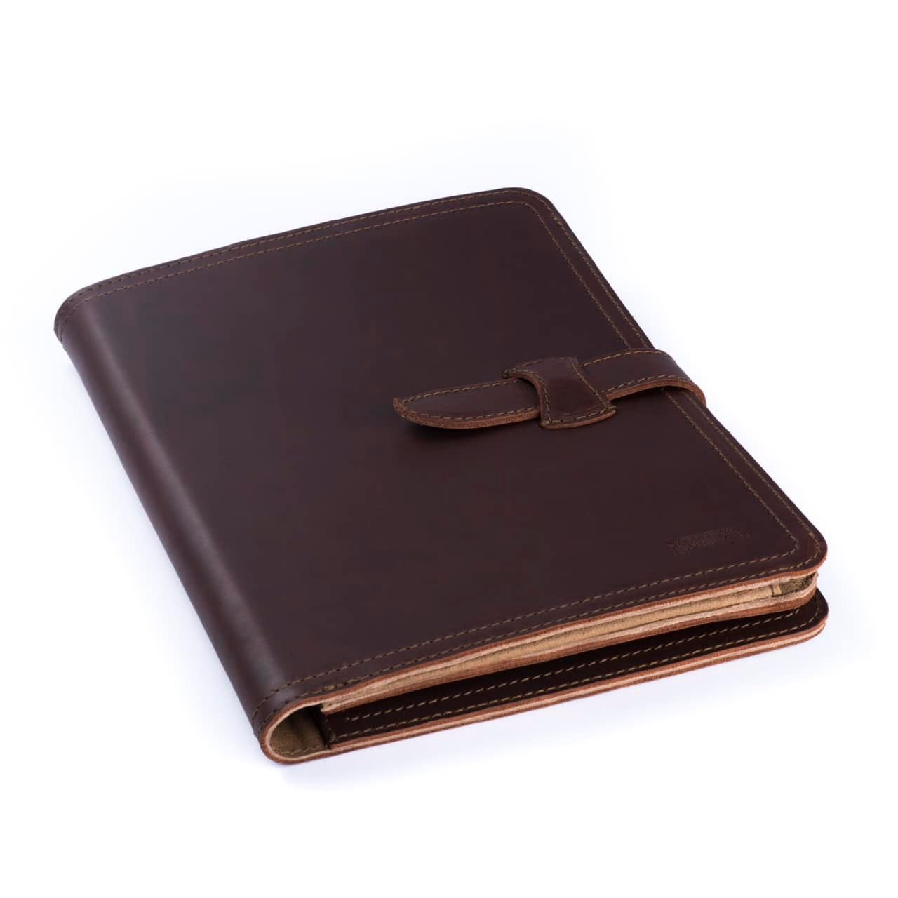 Leather Tablet Notepad Holder Closed in the Color Chestnut