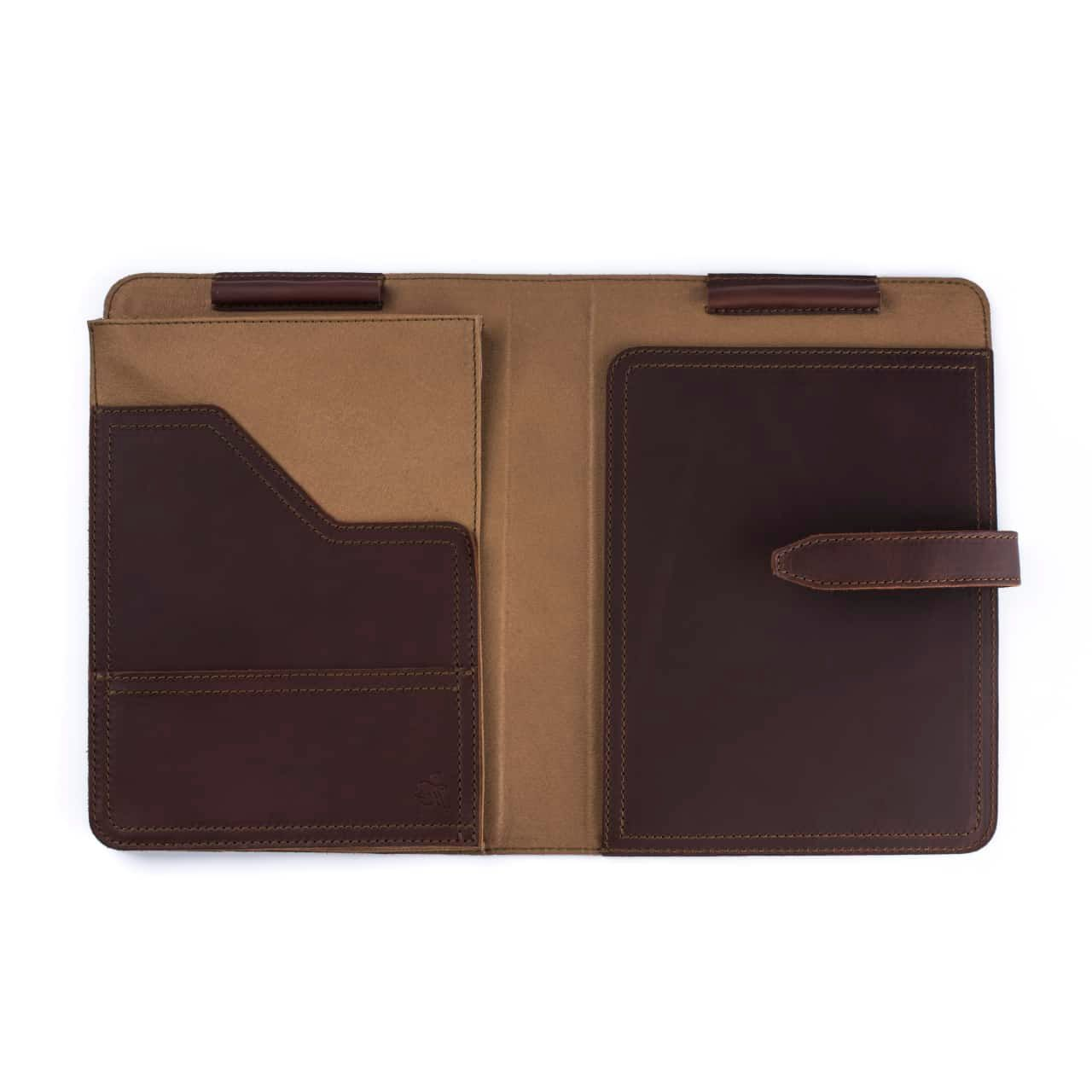 Leather Tablet Notepad Holder Open and Empty in the Color Chestnut