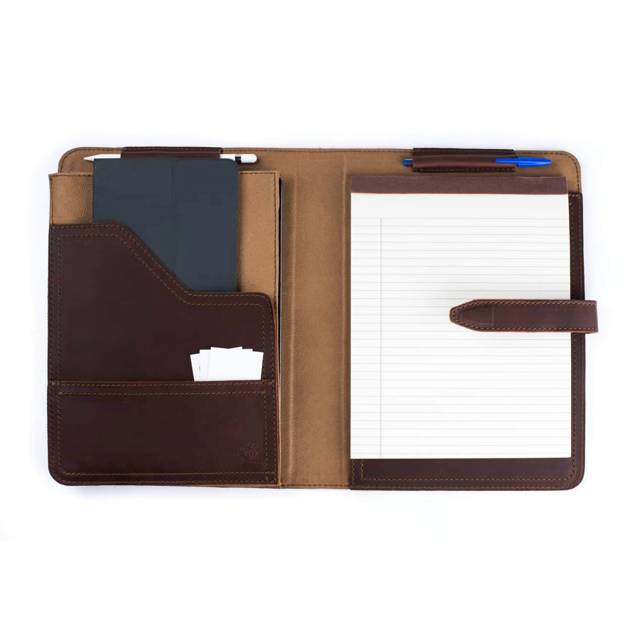 Leather Tablet Notepad Holder Open with Notepad and Pens in the Color Chestnut