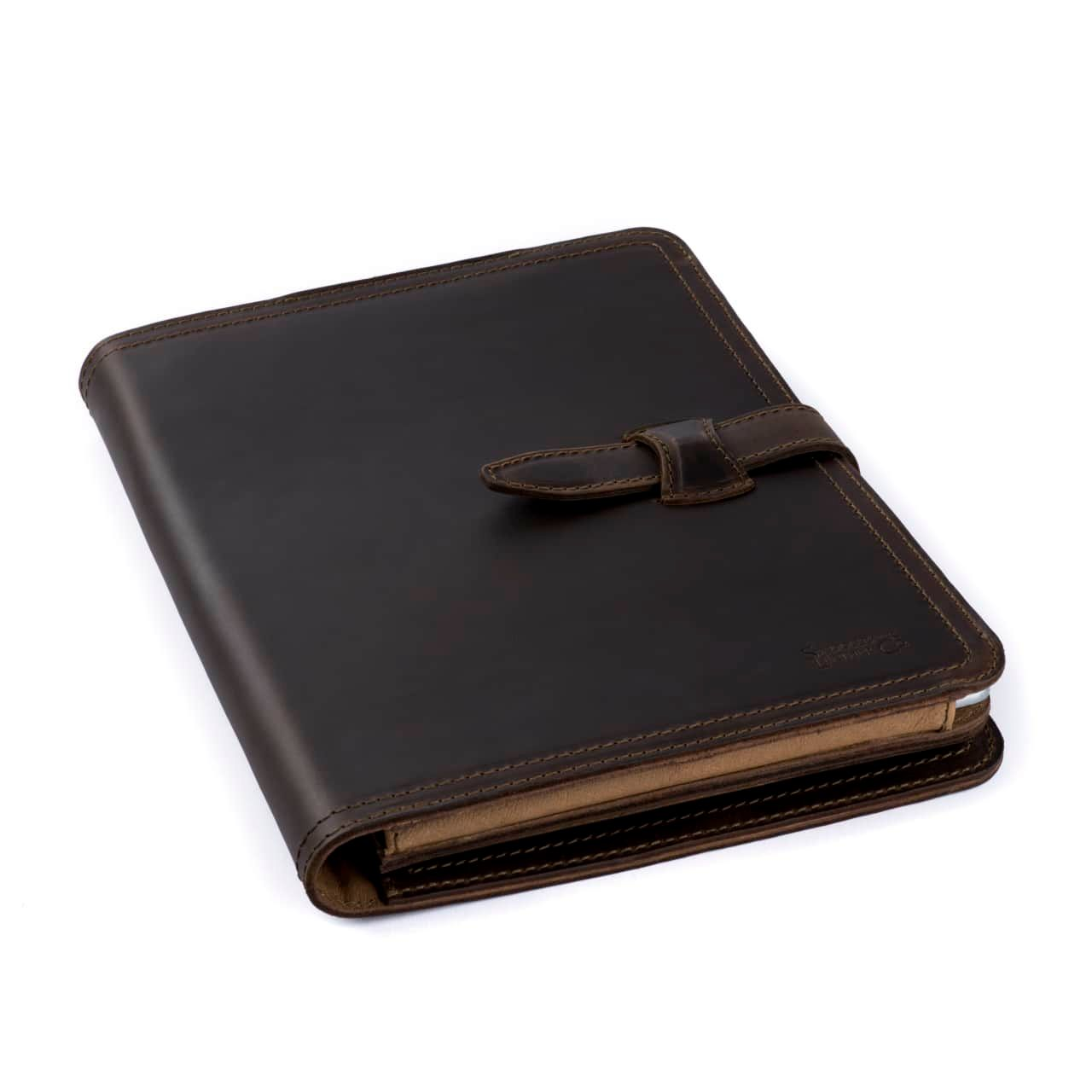 Leather Tablet Notepad Holder Closed in the color Dark Coffee Brown