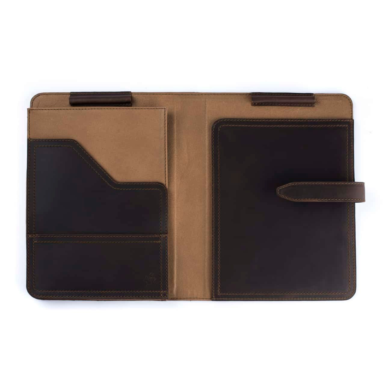 Leather Tablet Notepad Holder Open and Empty in the Color Dark Coffee Brown