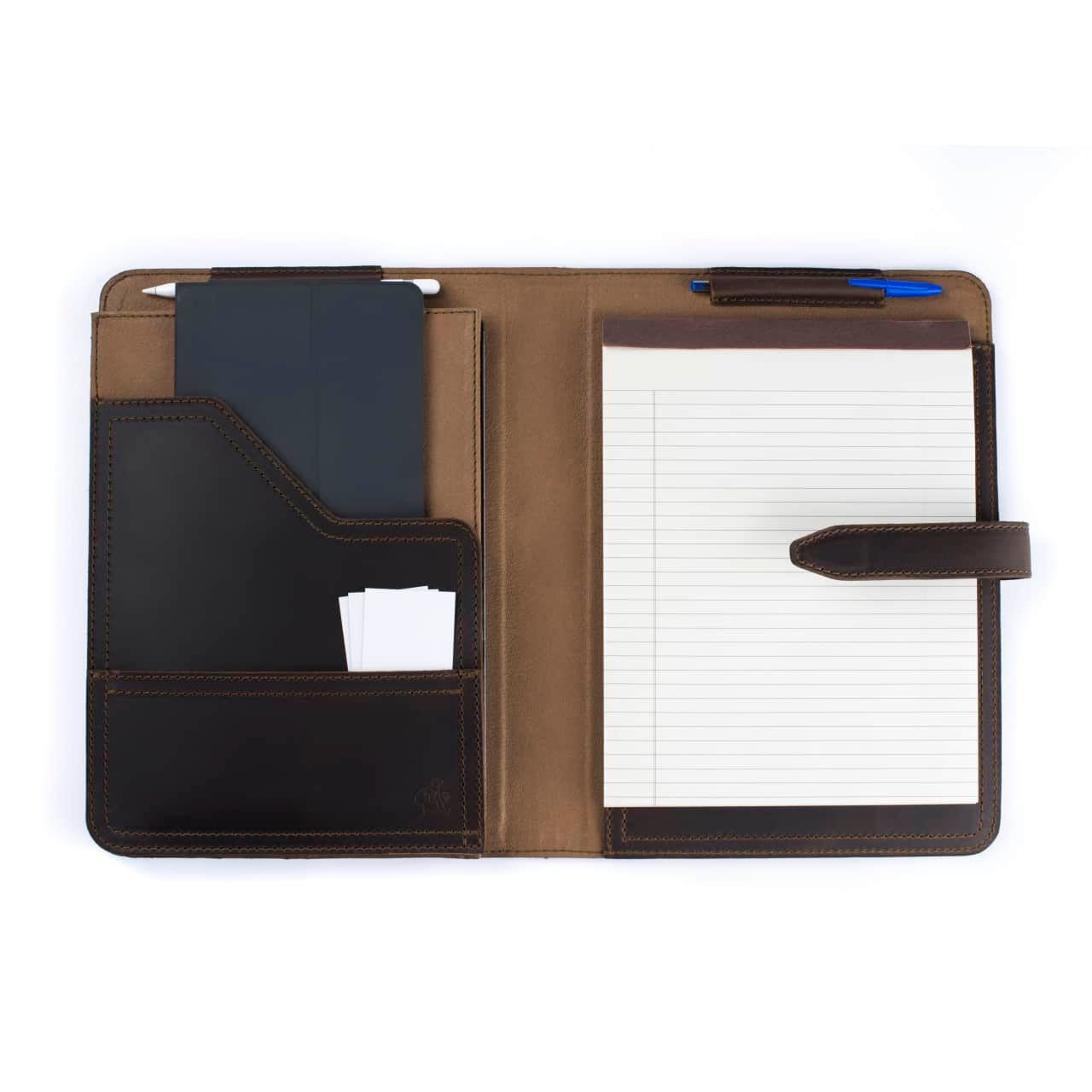 Leather Tablet Notepad Holder Open with Noteopad and Pens in the Color Dark Coffee Brown