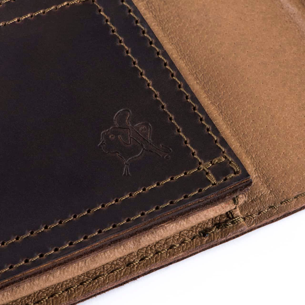 Leather Tablet Notepad Holder Zoomed in on Blue the Dog Stamp in the Color Dark Coffee Brown