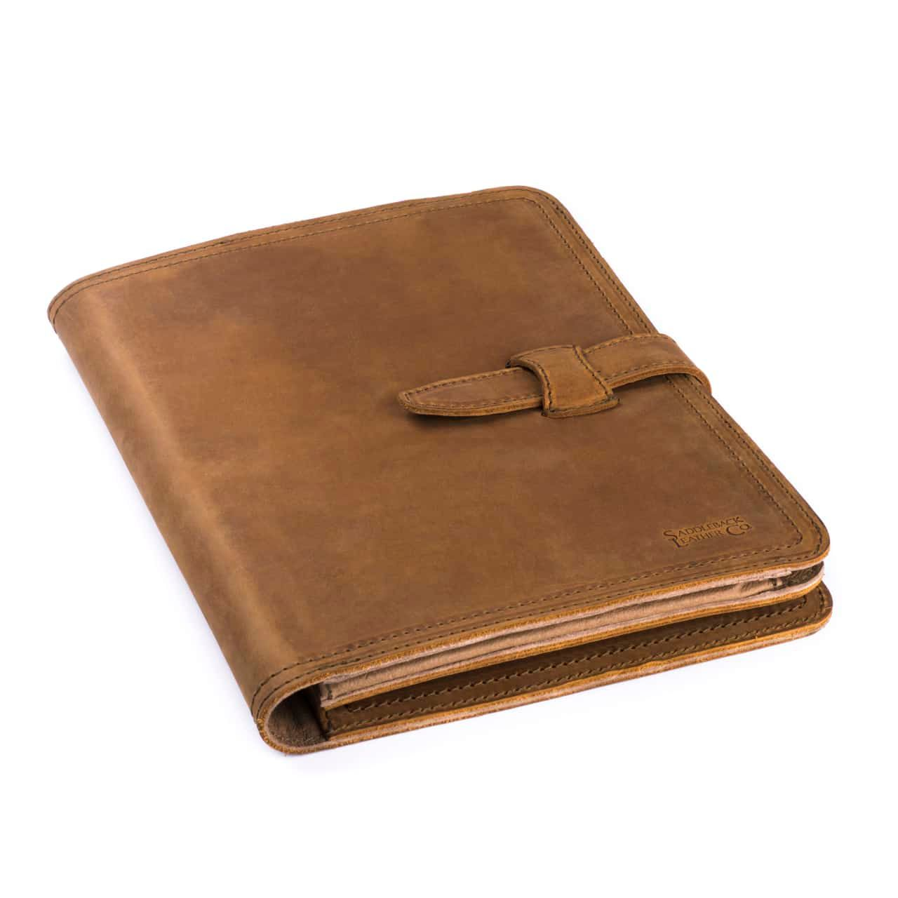Leather Tablet Notepad Holder Closed in the Color Tobacco