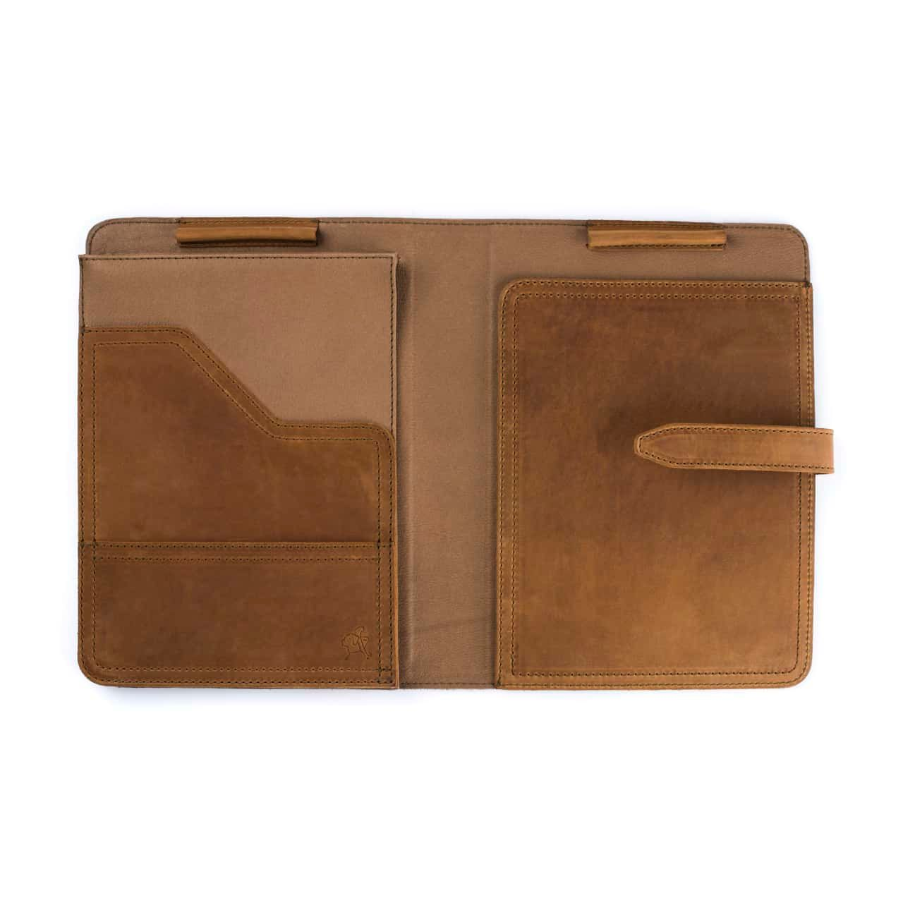 Leather Tablet Notepad Holder Open and Empty in the Color Tobacco