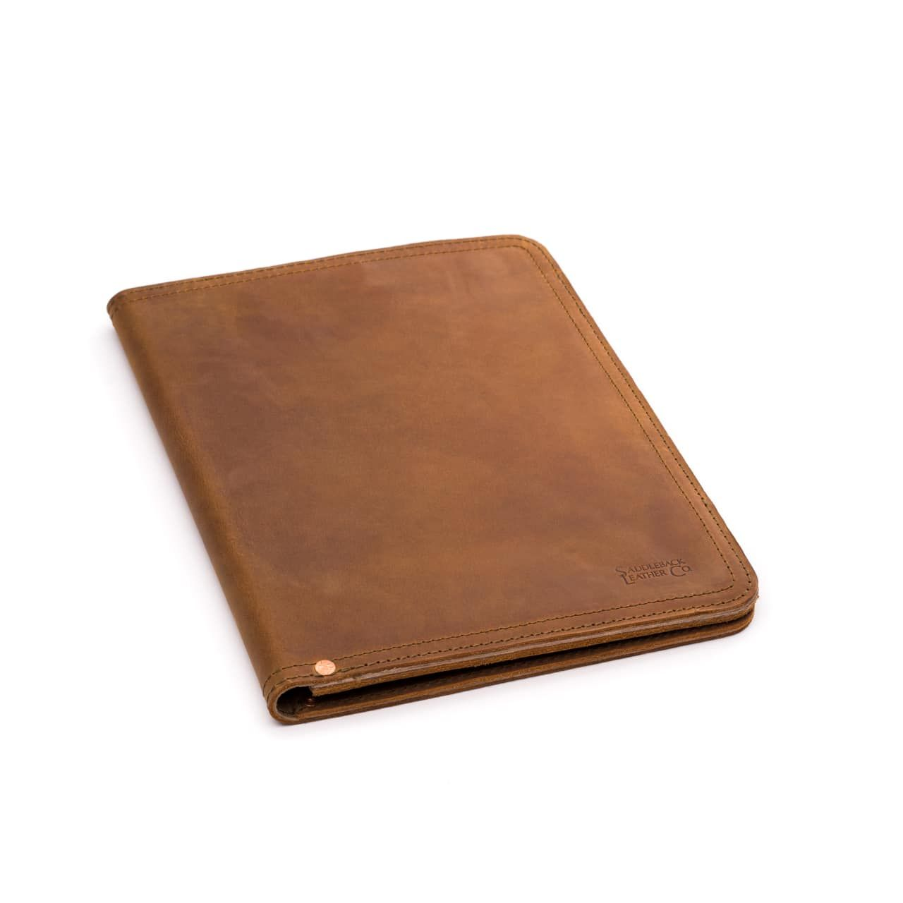 leather notepad cover medium in tobacco leather