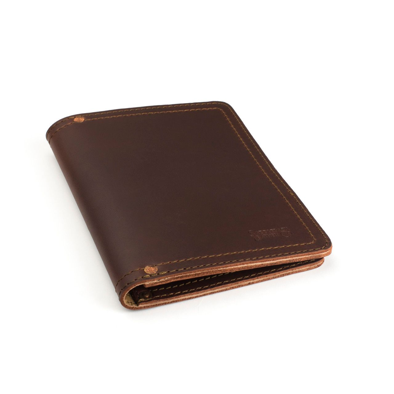 leather notepad cover small in chestnut leather
