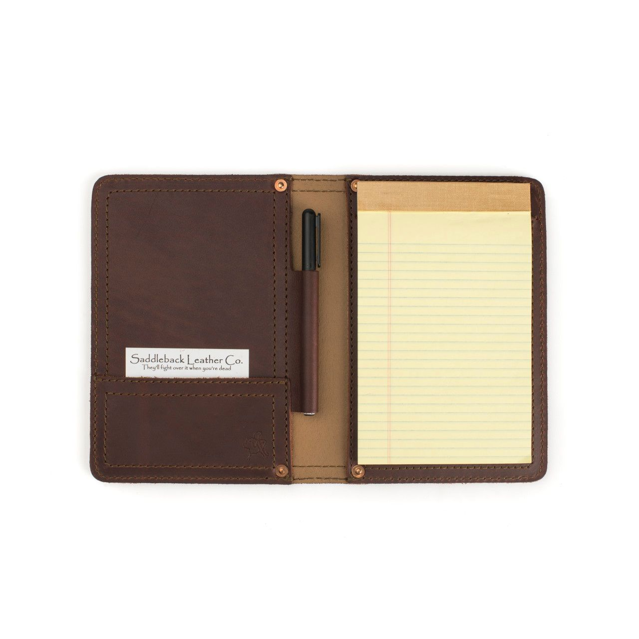 Notepad in leather notepad cover small in chestnut leather