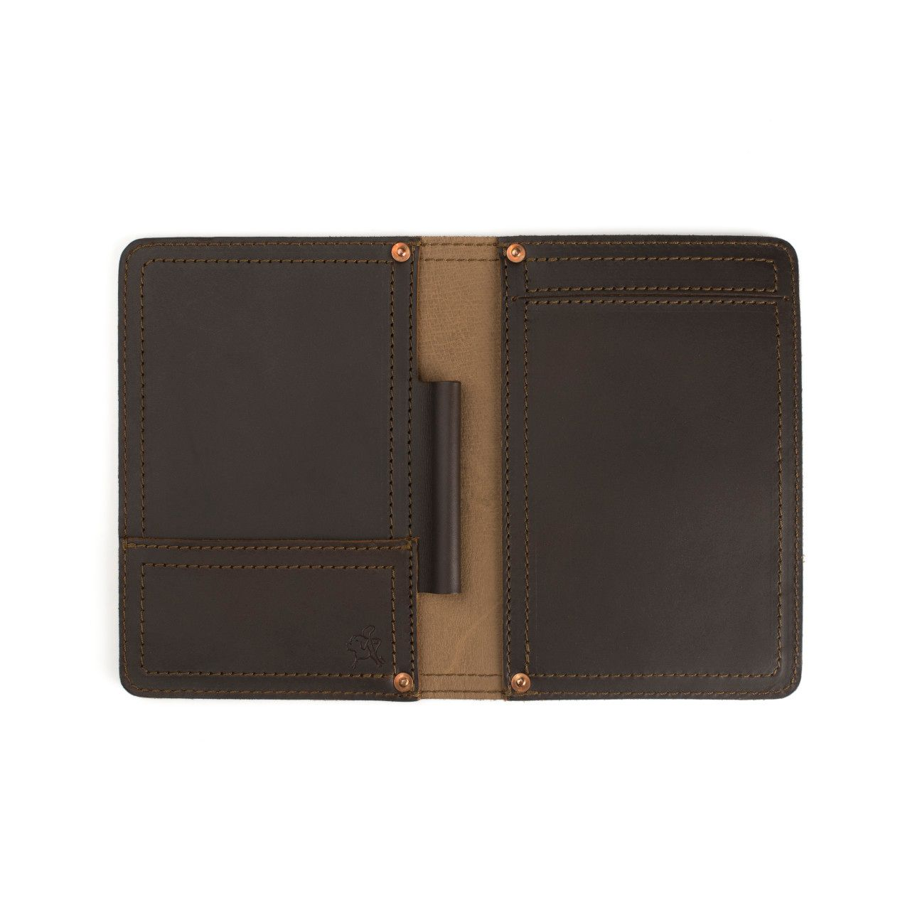 leather notepad cover small in dark coffee brown leather