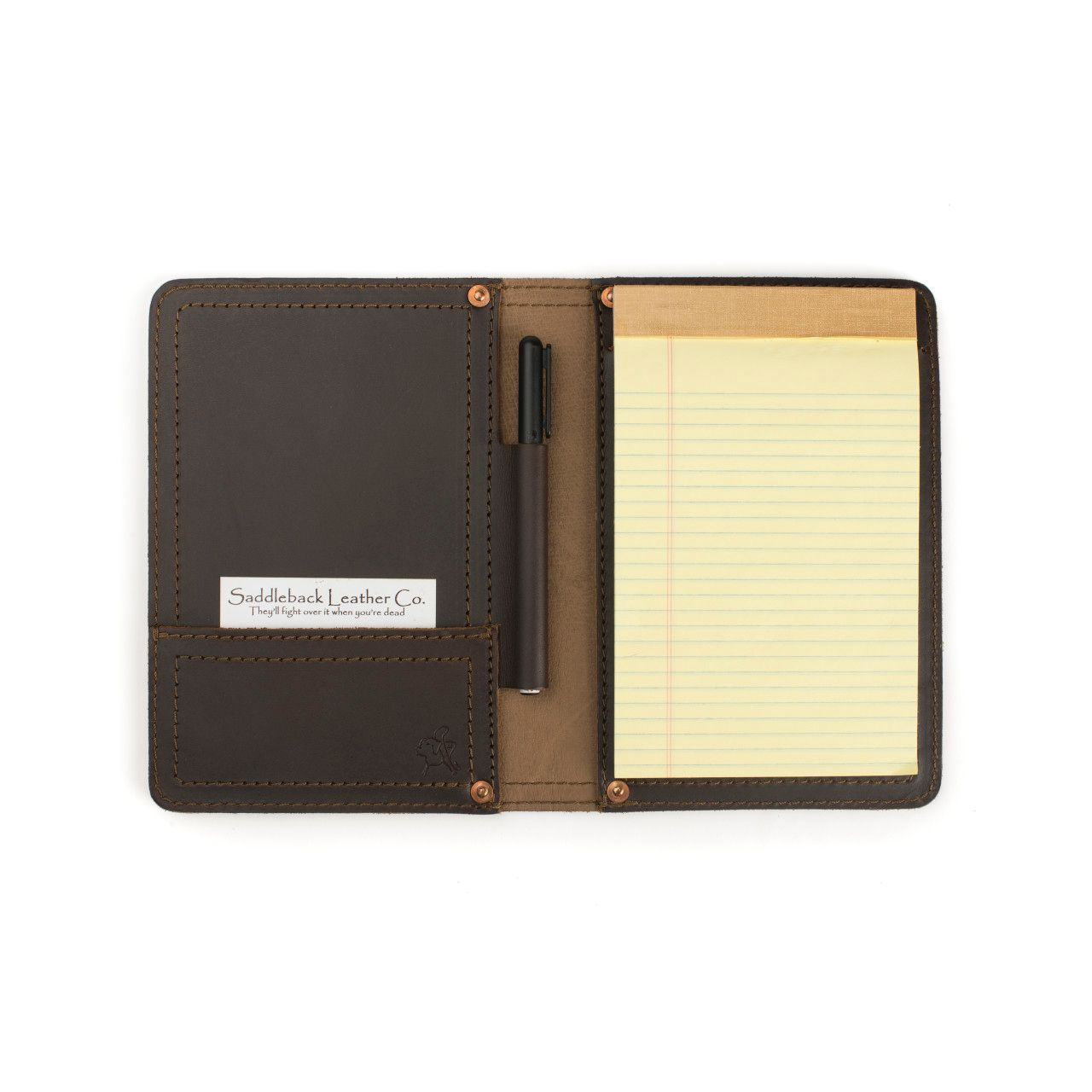 Notepad in leather notepad cover small in dark coffee brown leather