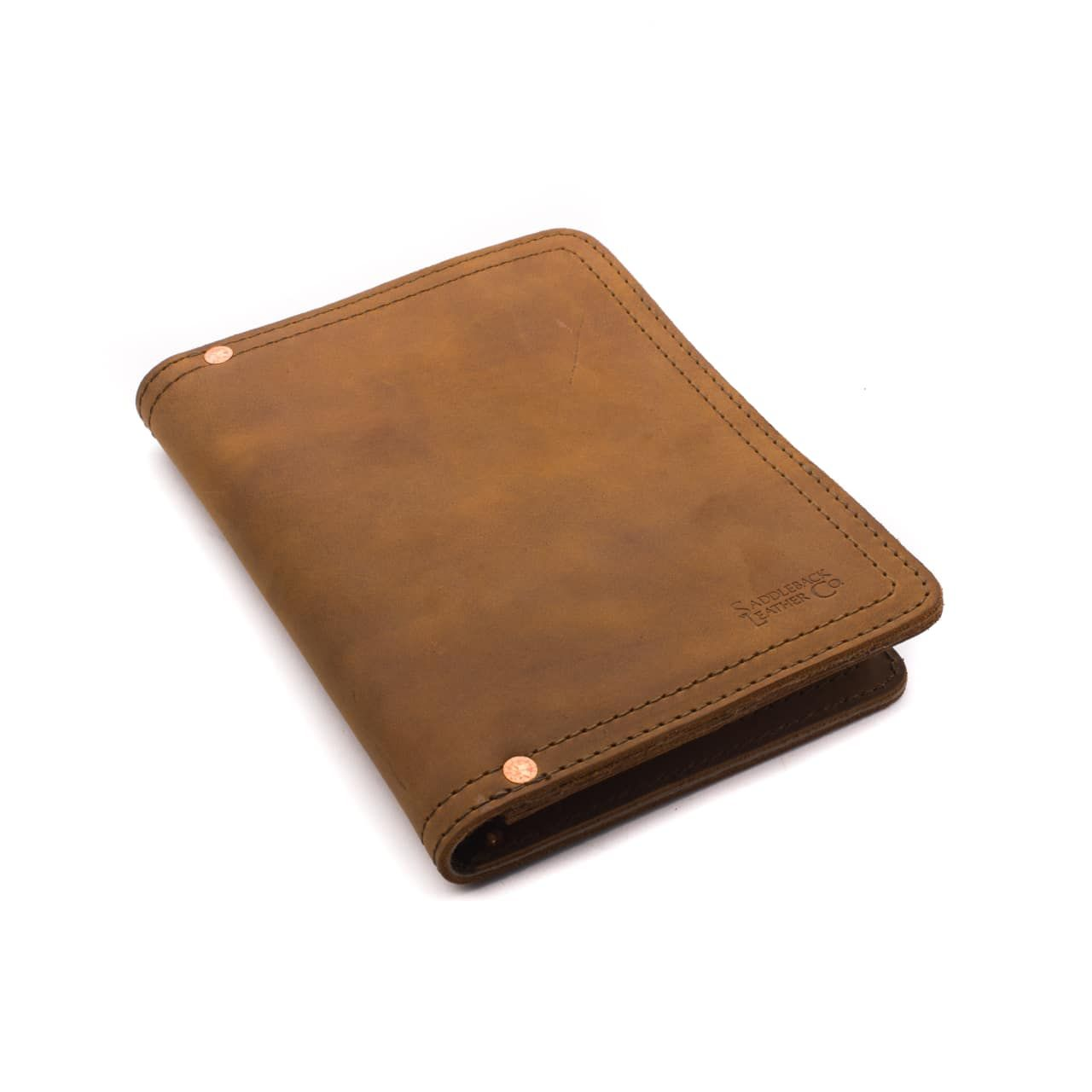 leather notepad cover small in tobacco leather