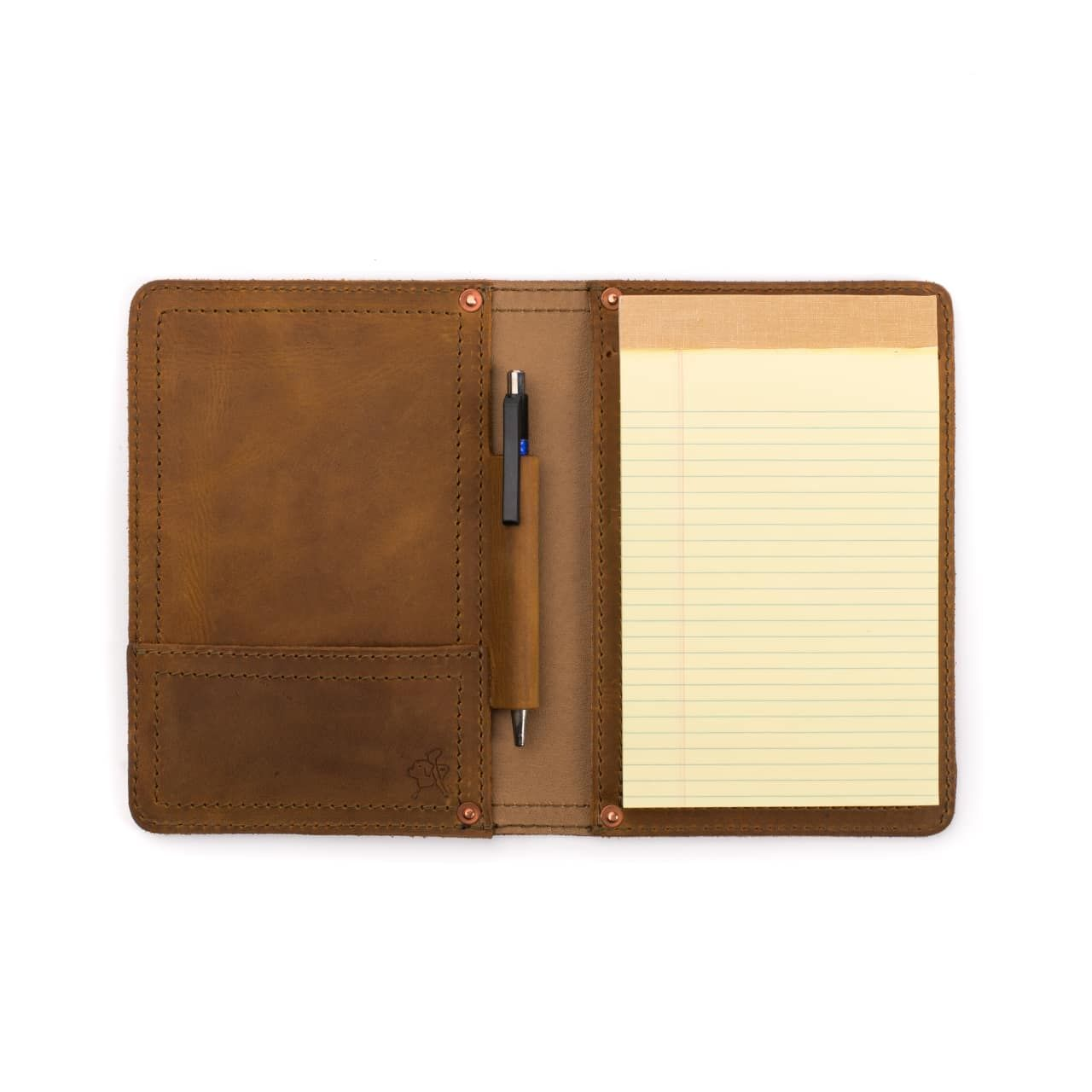 Notepad in leather notepad cover small in tobacco leather