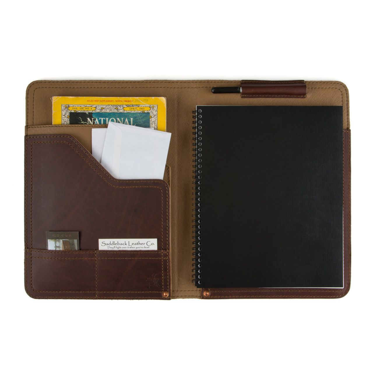 Notepad, business cards and map located in leather notepad cover medium in chestnut leather