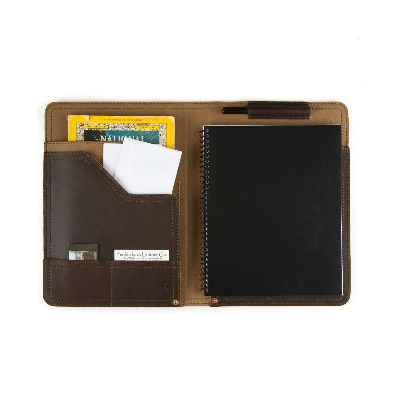 Notepad, business cards and map located in leather notepad cover medium in dark coffee brown leather