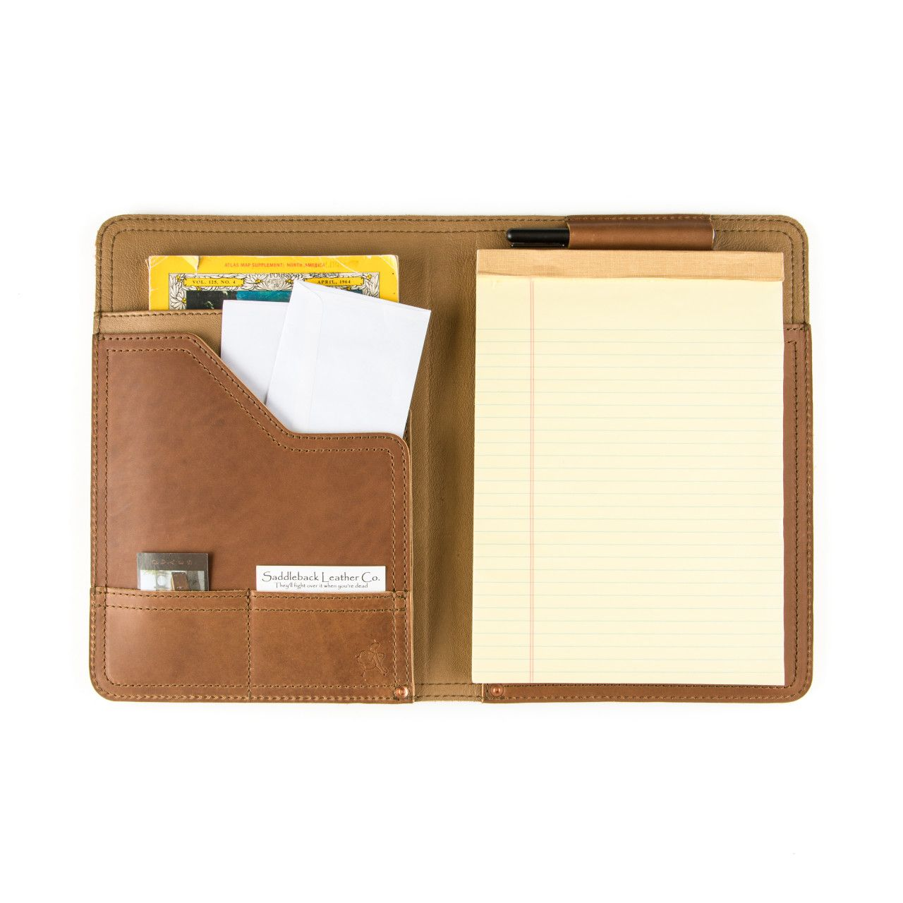 Notepad, business cards and map located in leather notepad cover medium in tobacco leather
