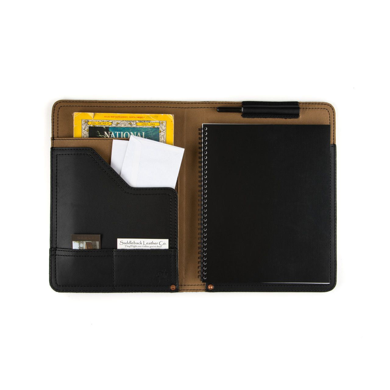 Notepad, business cards and map located in leather notepad cover medium in black leather