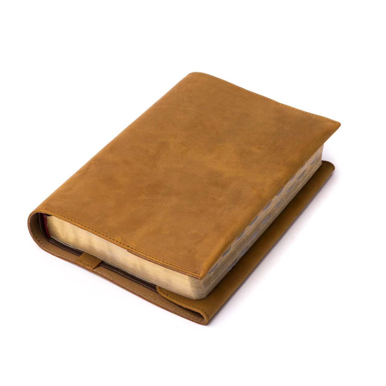 leather book cover large in tobacco leather