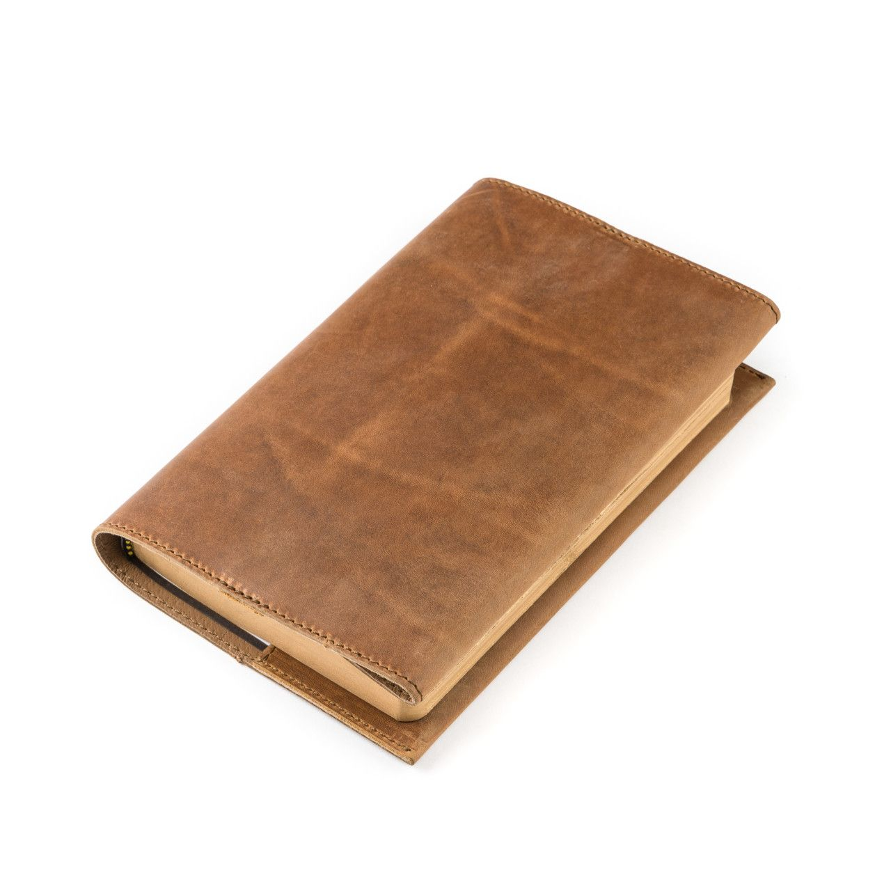 leather book cover small in tobacco leather